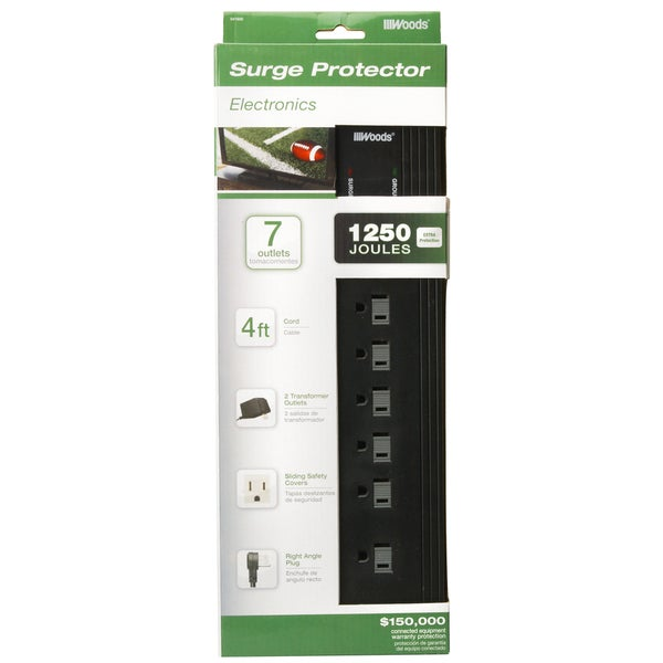 Woods 41600-88-11 7-Outlet 1250 Joules Black Surge Protector With 4' Cord