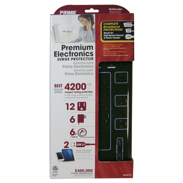 Prime PB504142 12-Outlet 4200J Black Multimedia Surge Protector