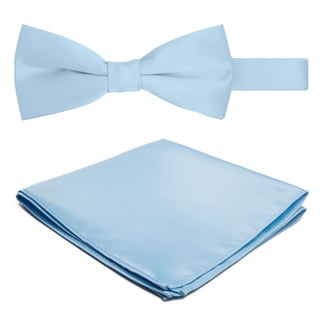 Jacob Alexander Men's Microfiber Solid-color Bowtie and Hanky Set