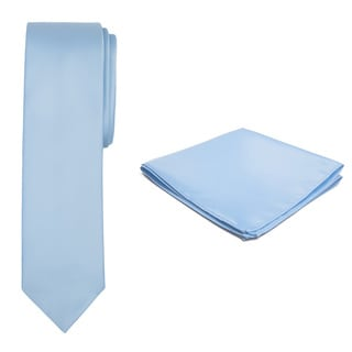 Jacob Alexander Men's Solid Color Slim Tie and Hanky Set