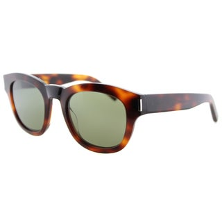 Saint Laurent SL Bold 2 003 Havana Plastic Square Green Lens Sunglasses
