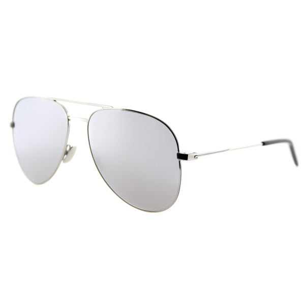 Saint Laurent SL Classic 11 005 Silver Metal Aviator Silver Mirror Lens Sunglasses