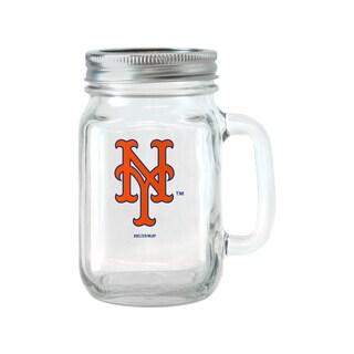 New York Mets 16-ounce Glass Mason Jar Set