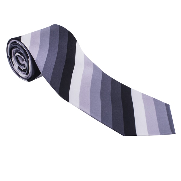 The Journey Continues Spitfire Grey/ Black Stripe Italian Silk Tie