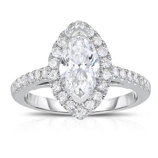 Eloquence 14k White Gold 3/8ct TDW Halo Marquise Diamond Ring (H-I, I2)