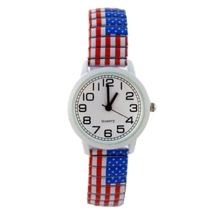 Women's American Flag Stretch Band Watch Easy Read White Dial