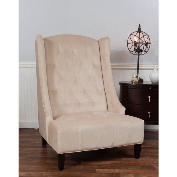 Bombay beige microfiber tufted wingback accent chair 18693448 shopping great for Microfiber accent chairs living room
