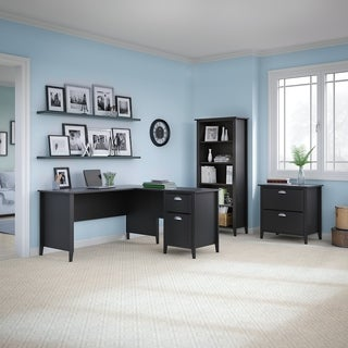 kathy ireland Office by Bush Furniture Connecticut L Desk, Bookcase, and Lateral File