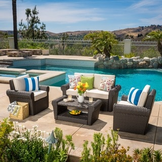 Christopher Knight Home Amaya Outdoor 4-piece Wicker Chat Set with Cushions