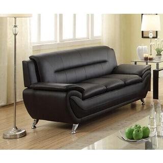 Alice Modern Black Faux Leather Living Room Sofa