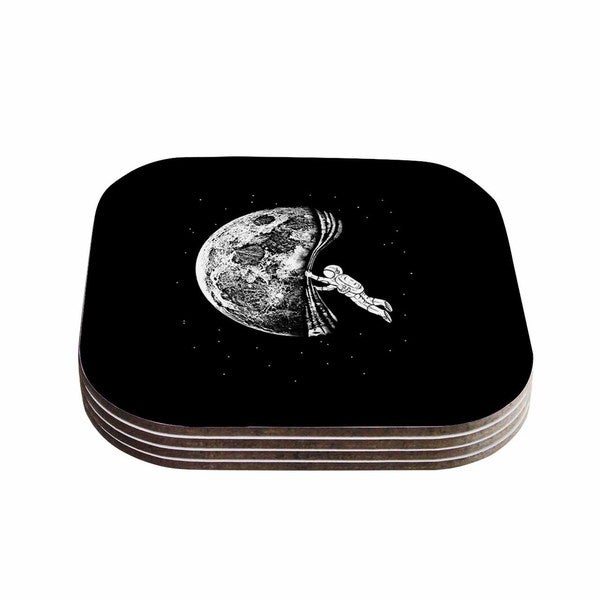 Kess InHouse BarmalisiRTB 'The Night Has Come' Black White Coasters (Set of 4)