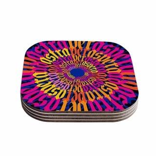 Roberlan 'Ad Astra Per Aspera Mandala' Blue Orange Coasters (Set of 4)