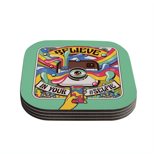 Kess InHouse Roberlan 'Selfie' Multicolor Camera Coasters (Set of 4)