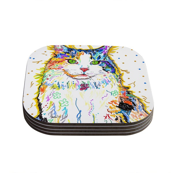 Kess InHouse Rebecca Fischer 'Royal' Rainbow Cat Coasters (Set of 4)