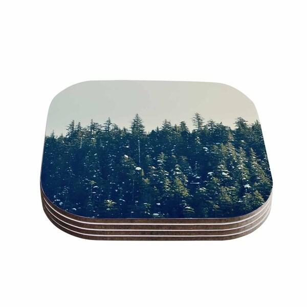 Kess InHouse Robin Dickinson 'Take The Road Less Traveled' Gray Green Coasters (Set of 4)