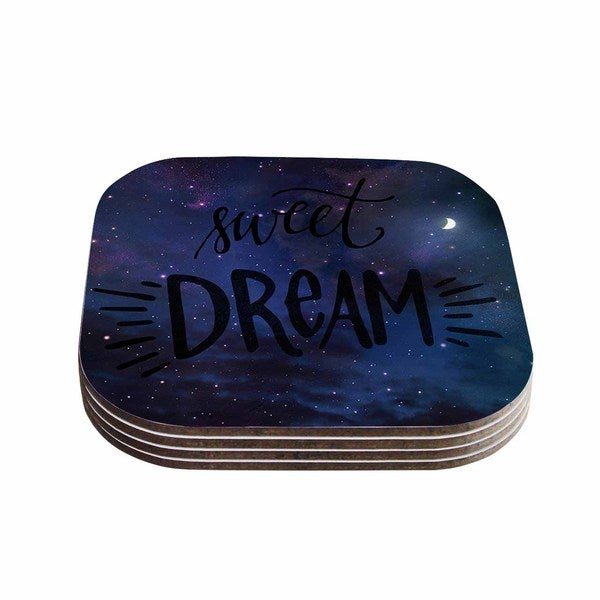 Kess InHouse Robin Dickinson 'Sweet Dream' Black Purple Galaxy Coasters (Set of 4)