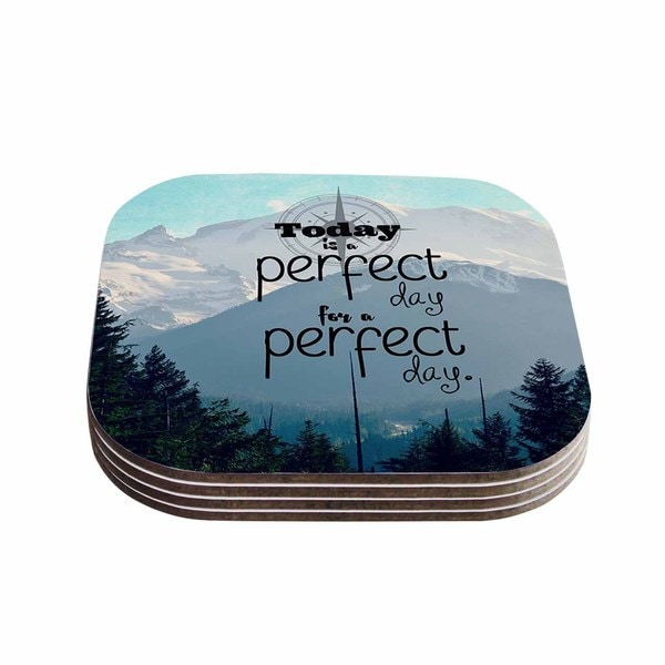 Kess InHouse Robin Dickinson 'A Perfect Day' Gray Blue Coasters (Set of 4)