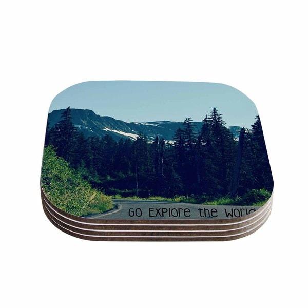 Kess InHouse Robin Dickinson 'Go Explore the World' Green Blue Coasters (Set of 4)