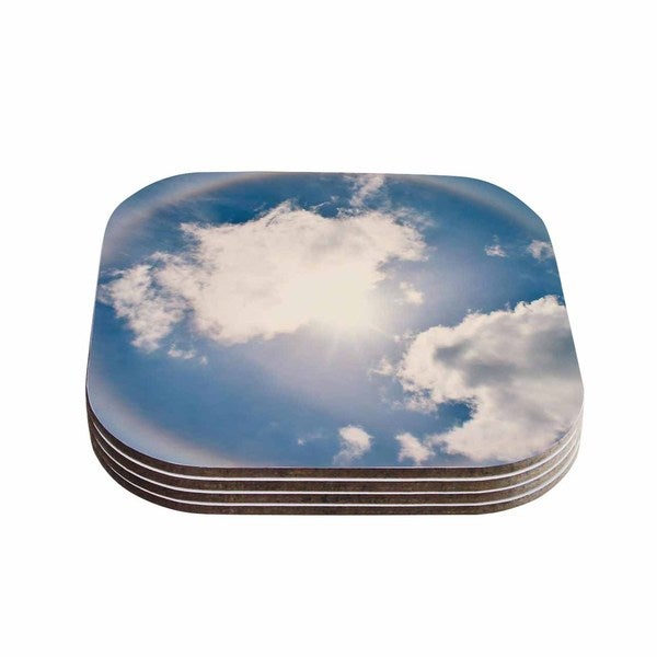 Kess InHouse Robin Dickinson 'Halo' Blue White Coasters (Set of 4) 18359145