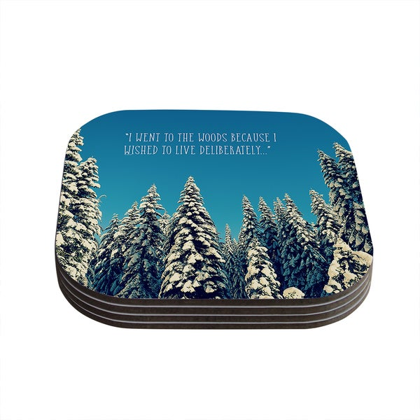 Kess InHouse Robin Dickinson 'I Went to the Woods' Blue White Coasters (Set of 4)