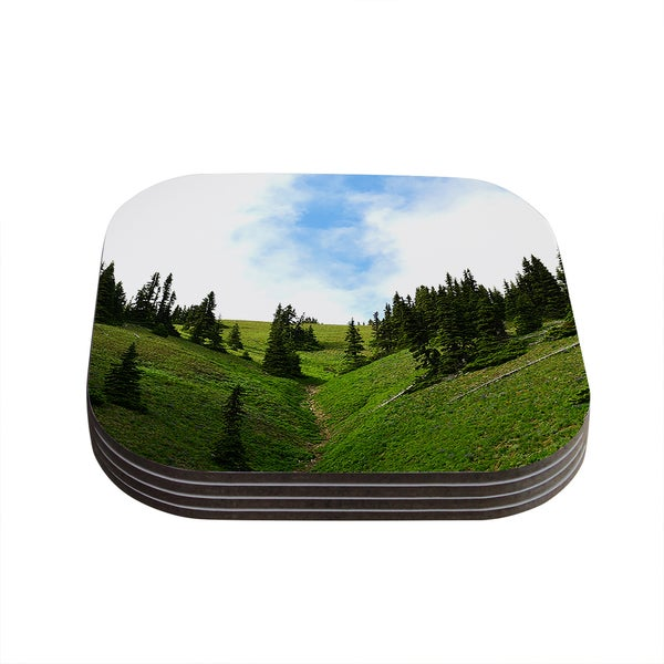 Kess InHouse Robin Dickinson 'Going to the Mountains' Green Blue Coasters (Set of 4)
