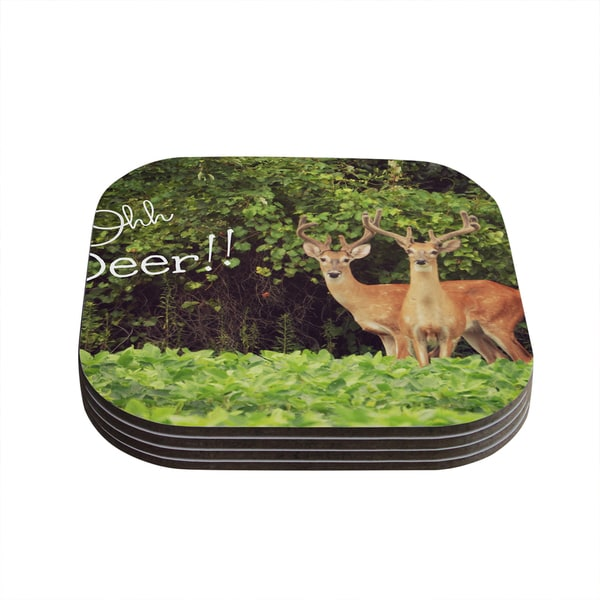 Kess InHouse Robin Dickinson 'Ohh Deer' Green Brown Coasters (Set of 4)
