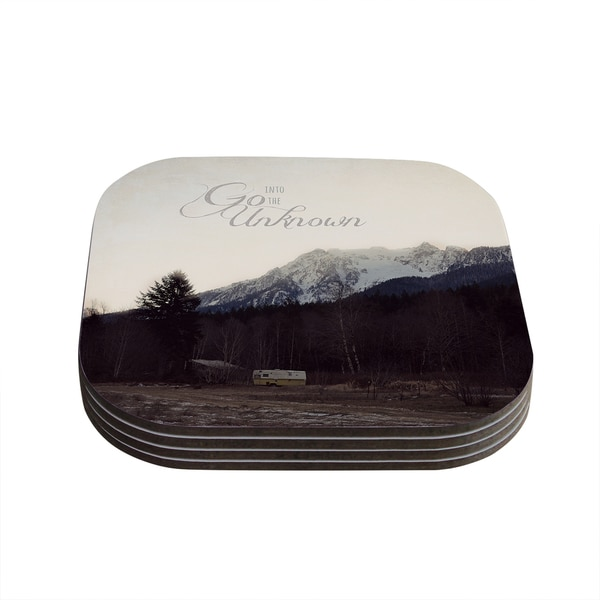 Kess InHouse Robin Dickinson 'Go Into the Unknown' Brownn White Coasters (Set of 4)