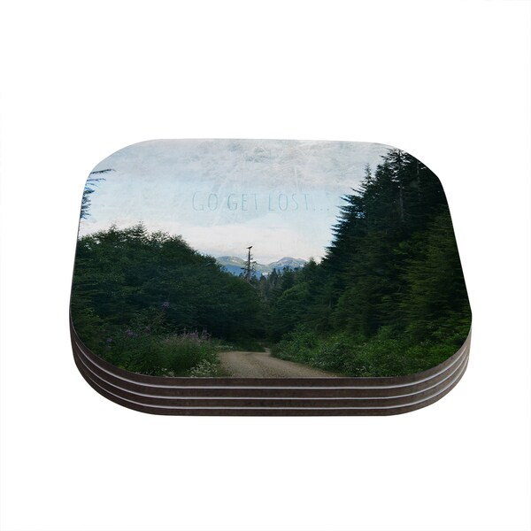 Kess InHouse Robin Dickinson 'Go Get Lost' Forest Green Coasters (Set of 4)
