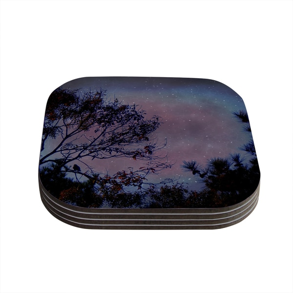 Kess InHouse Robin Dickinson 'Twilight' Purple Tree Coasters (Set of 4)