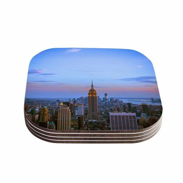 Kess InHouse Juan Paolo 'Empire State Of Mind' Blue Multicolor Coasters (Set of 4)
