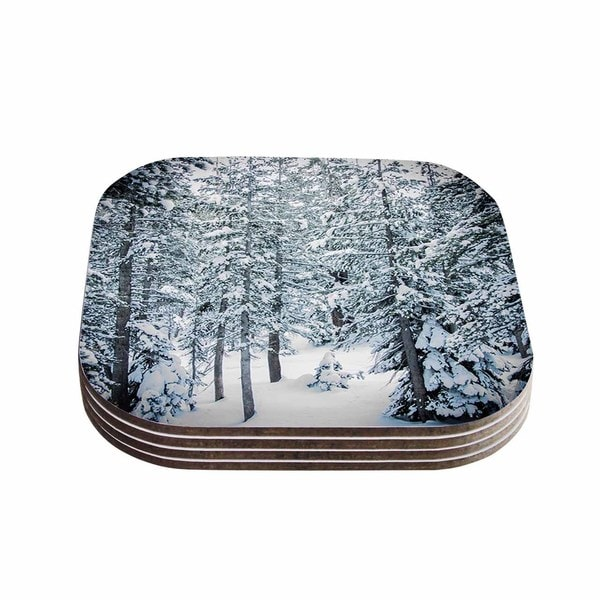Kess InHouse Juan Paolo 'Winter Trials' White Snow Coasters (Set of 4)