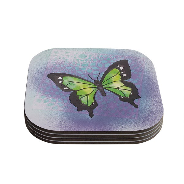 Kess InHouse Padgett Mason 'Lime Green Flutter' Purple Lavender Coasters (Set of 4)
