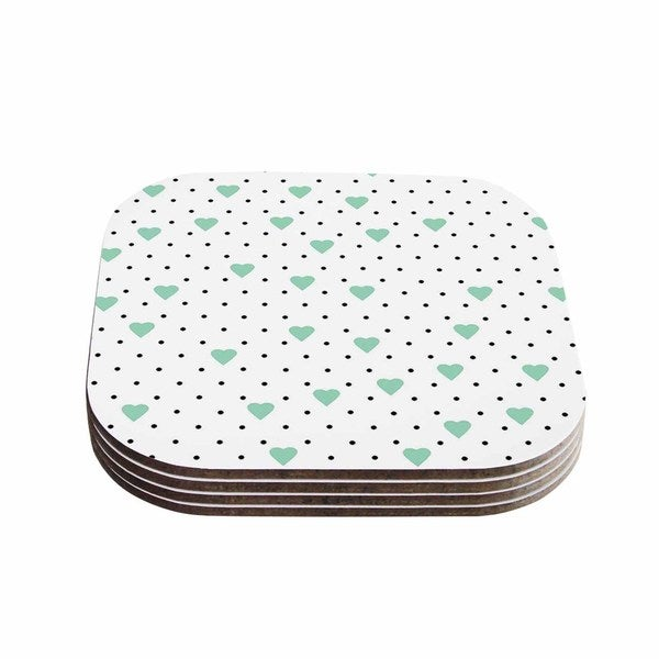 Kess InHouse Project M 'Pin Point Polka Dot Mint' Green White Coasters (Set of 4)