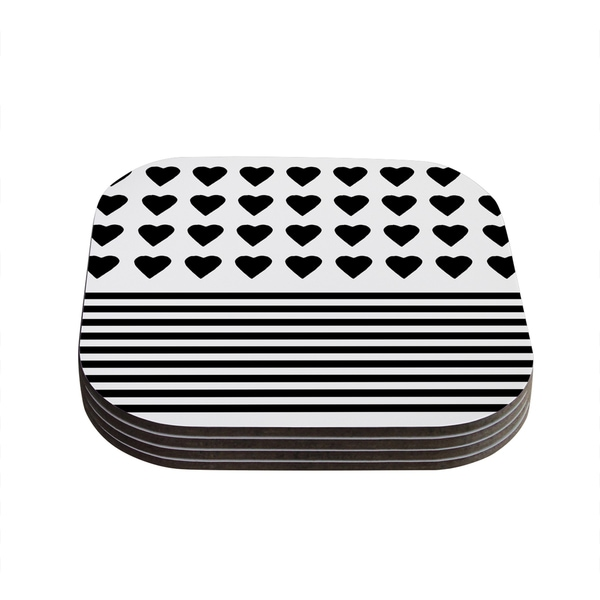 Kess InHouse Project M 'Heart Stripes Black and White' Monochrome Lines Coasters (Set of 4)