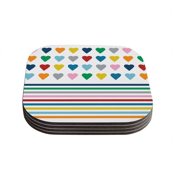 Kess InHouse Project M 'Heart Stripes' Rainbow Shapes Coasters (Set of 4) 18359499