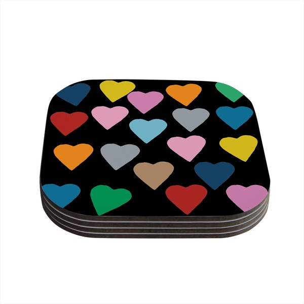 Kess InHouse Project M 'Hearts Colour on Black' Coasters (Set of 4)