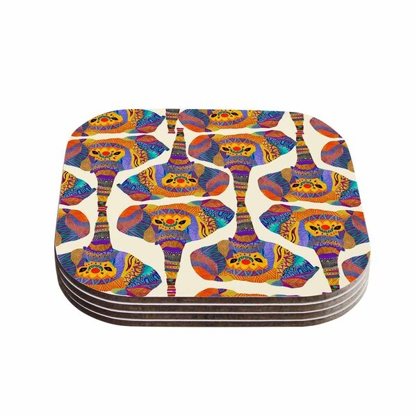 Kess InHouse Pom Graphic Design 'Elephant Play' Orange Animal Print Coasters (Set of 4)
