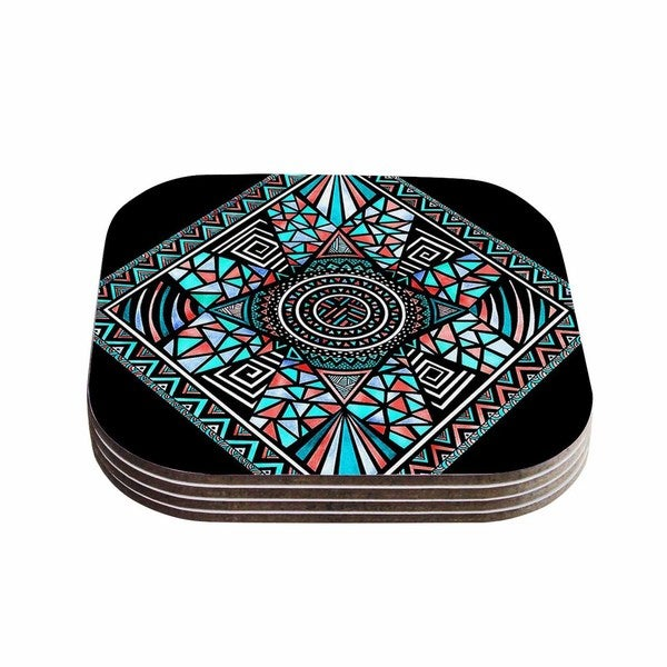 Kess InHouse Pom Graphic Design 'Peacock Feathers' Multicolor Pattern Coasters (Set of 4)