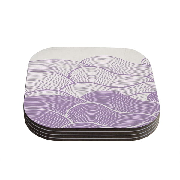 Kess InHouse Pom Graphic Design 'The Lavender Seas' Purple Waves Coasters (Set of 4)