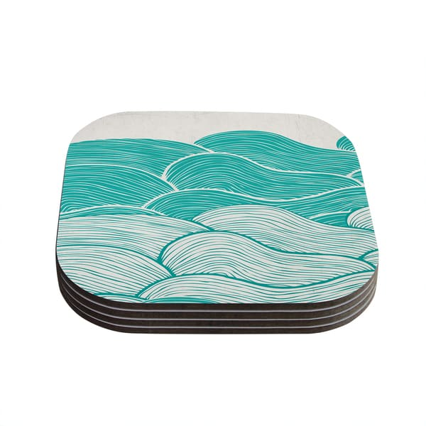 Kess InHouse Pom Graphic Design 'The Calm and Stormy Seas' Green Teal Coasters (Set of 4)