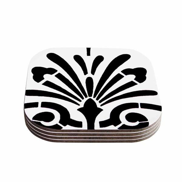 Kess InHouse Philip Brown 'Sparkles' Black Digital Coasters (Set of 4)