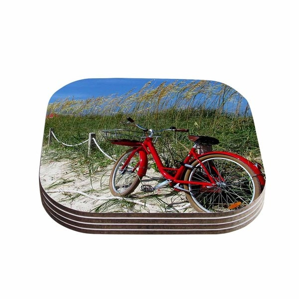 Kess Inhouse Philip Brown 'a Day At The Beach' Black Red Coasters (set Of 4)