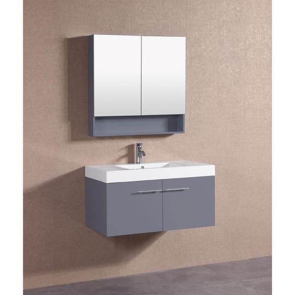 Belvedere Modern Dark Grey Floating 36 Inch Bathroom Vanity With Faucet 18694304 Overstock