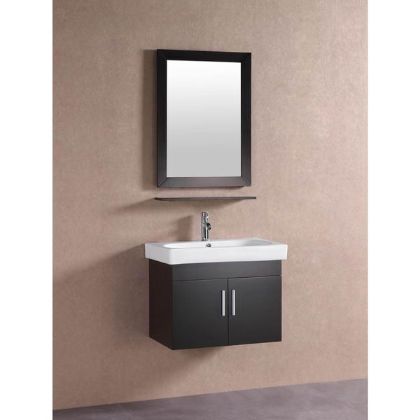 Belvedere Modern Espresso 28 Inch Floating Bathroom Vanity