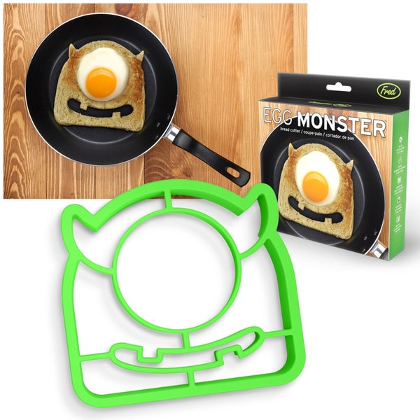 Fred & Friends Owl Funny Side Up Green Polypropylene Egg Monster Bread Cutter and Pancake Ring Mold Fun Kitchen Tool