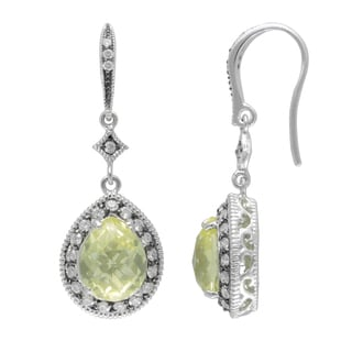 SIRI USA Sterling Silver Cubic Zirconia and Lemon Quartz Earrings