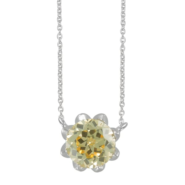 SIRI USA Sterling Silver Canary Yellow Cubic Zirconia Pendant