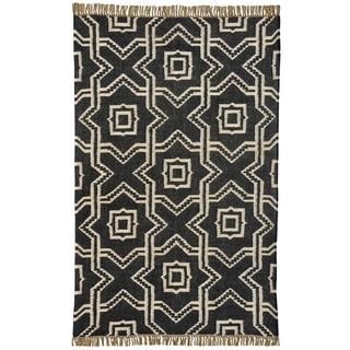 Hand Woven X and O Black Wool Jute Kilim Dhurry Rug (8' x 11')