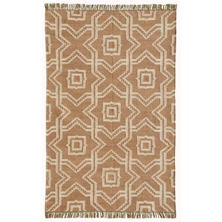 Kilim Dhurrie 'X and O' Tan Wool Jute Hand Woven Rug (8' x 11')