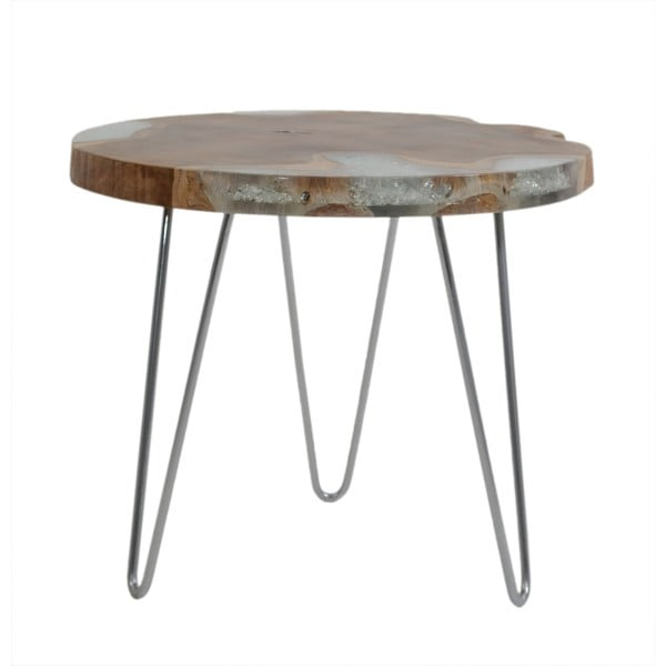 Kaimana Side Table in Icy Wood Top